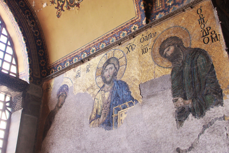 Deesis* mosaic in the Hagia Sophia (13th century) in Istanbul, Turkey. Photo from Random Republika.com