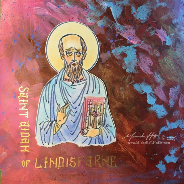 The Gentle Heart of Saint Aidan, Part 2 - Abstract acrylic painted book page featuring a pen and ink portrait of Saint Aidan of Lindisfarne with hand lettered name from the Book of Saints by Michelle L Hofer.