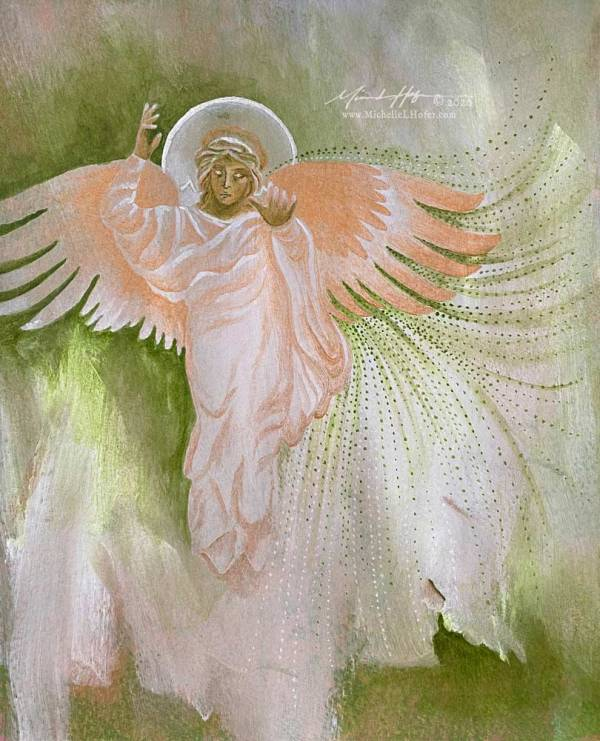 Abstract acrylic painting featuring the divine messenger angel Gabriel.