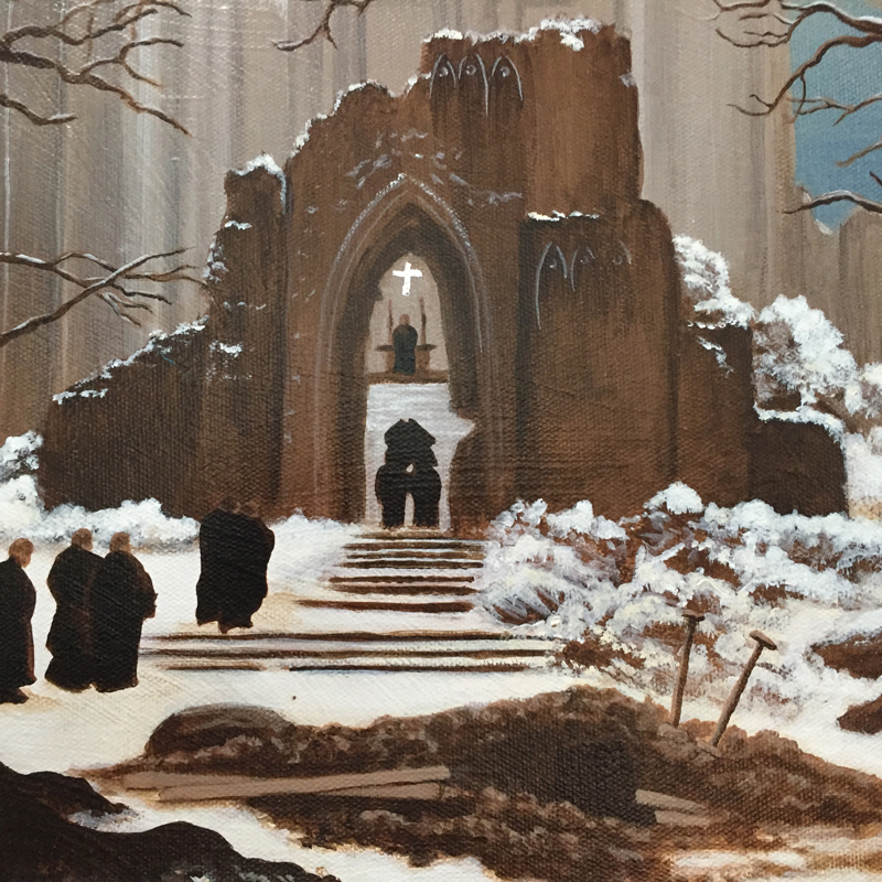 Monastery Graveyard in the Snow — after Caspar David Friedrich, detail (2011) by Michelle L Hofer