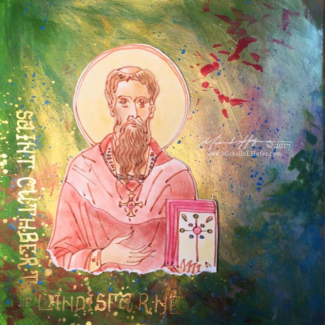 Saint Cuthbert the Wonder-Worker, Part 2 - Abstract acrylic painted book page featuring a pen and ink portrait of Saint Aidan of Lindisfarne with hand lettered name from the Book of Saints by Michelle L Hofer.