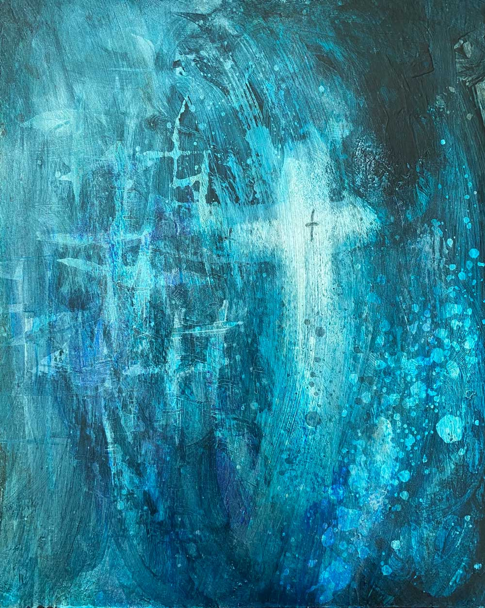 Abstract painting from the Fifth Sunday of Lent, 2020 by Michelle L Hofer