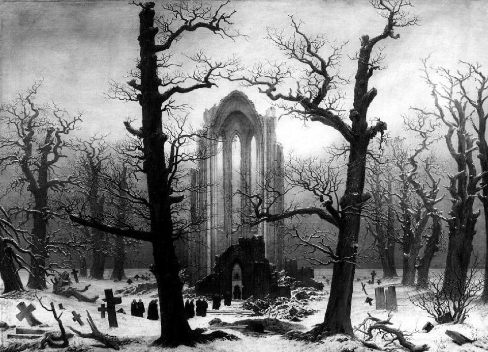 Monastery Graveyard in Snow (1817-1819) by Casper David Friedrich
