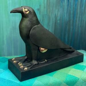 Ceramic raven sculpture in matte black and 22K gold details - custom order - Michelle L Hofer | Birch Tree Studio