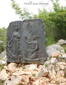 The rocky mountainside had all the stations of the cross in various spots along the path to the top.