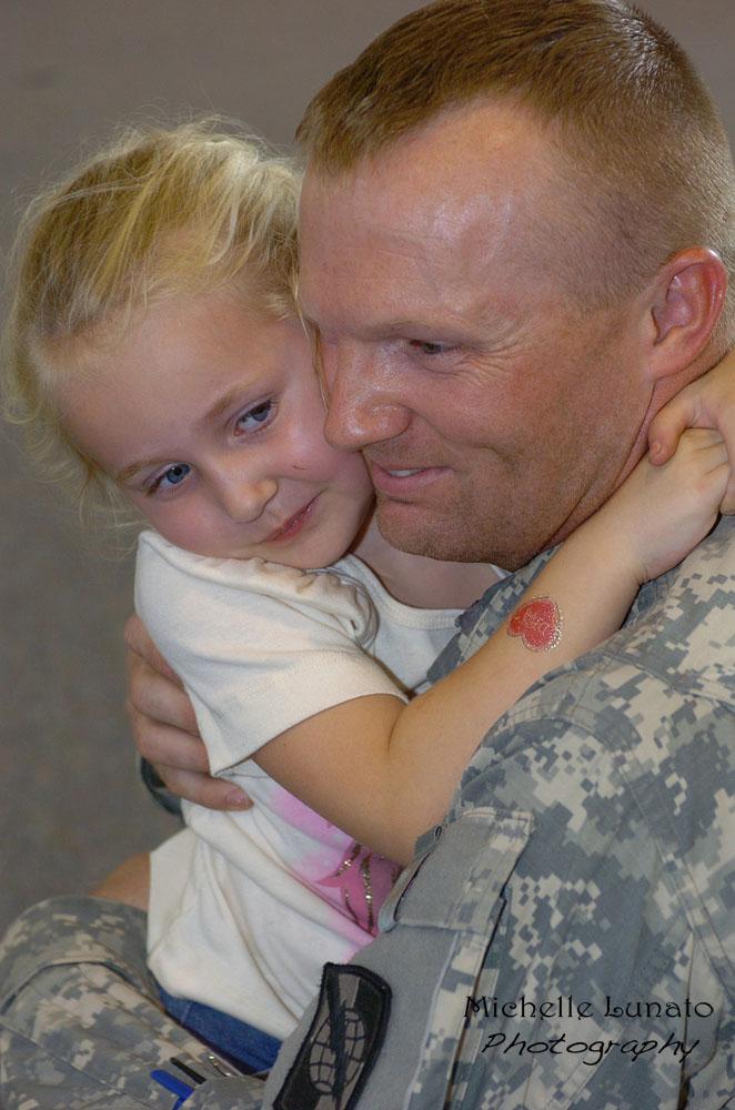 giving daddy a big hug