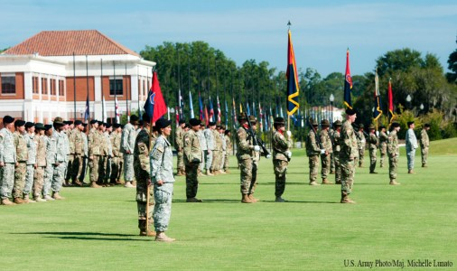 Soldiers of the 98th Training Divsion (Initial Entry Training) stand in formation during an assumption of command ceremony on September 11 at the National Infantry Museum Parade Field on Fort Benning, Georgia. Brig. Gen. Miles Davis assumed command of the Army Reserve division that is headquarterd at Fort Benning.