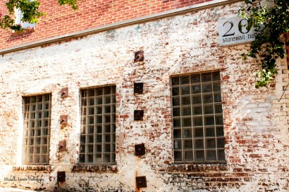 Loved this whitewashed brick and windows.