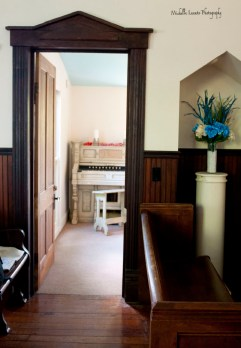 The dark molding was a nice contrast to the walls and good compliment to the paneled portion of the wall.