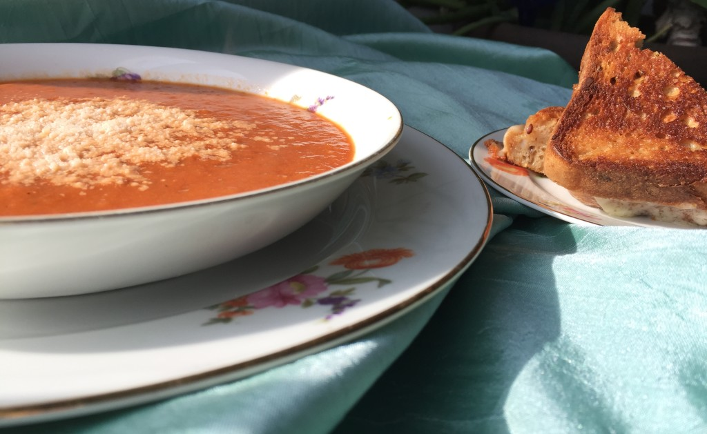 Gluten-free tomato soup and grilled cheese on great grandmas