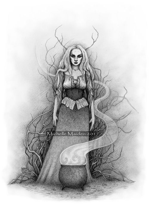 traditional witch drawing, cunning woman art