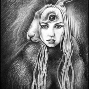 Isobel Gowdie art, shapeshifter, witch art, hare woman