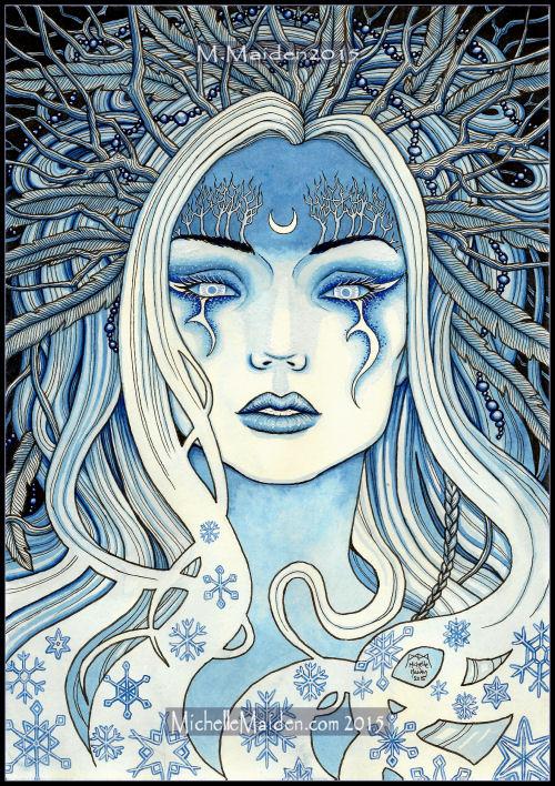 elemental art, snow queen, winter goddess