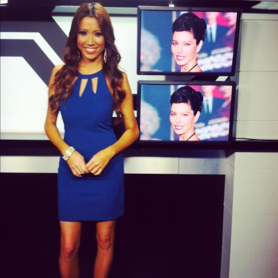#MMSteez - E! News Now: Dress: Mink Pink | Jewelry: Lia Sophia | Hair/Makeup: Liz Castellanos