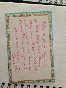 A handwritten note from one of my favorite bloggers