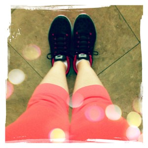 Run in your bright coral pants and cheetah shoes
