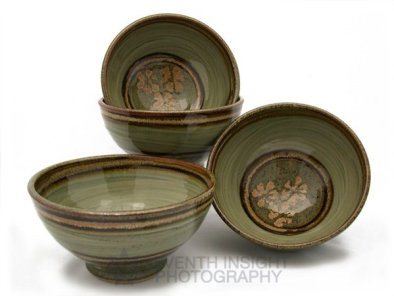 Celadon ceramic bowl trio by Terry Osborne Pottery
