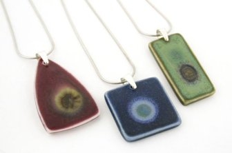 Ceramic pendant trio by Iris Dorton Pottery