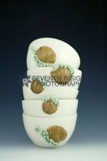 Stack of Seashell Bowls by Filipa Pimentel Pottery