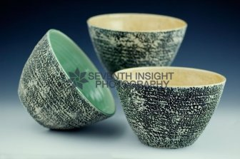 Stack of Textured Bowls by Filipa Pimentel Pottery