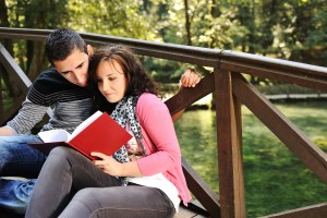 Couple with book