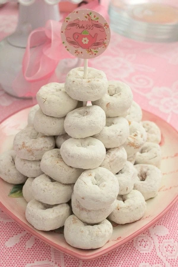 My Cup Runneth Over - A Tea Party On A Budget - donut tower