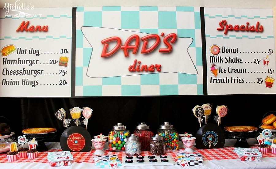 Kara\'s Party Ideas Retro 1950\'s Dad\'s Diner Father\'s Day ...