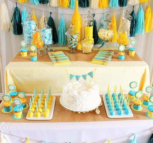 A Yellow & Aqua Baby Shower