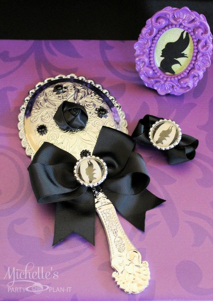 Maleficent Party Ideas - Party favors, Maleficent mirror and bow