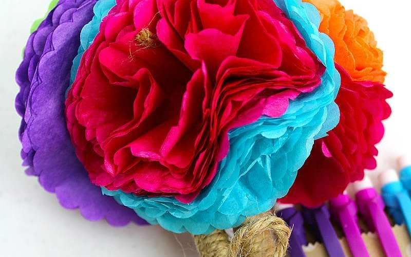 DIY Tissue Paper Flower Pen