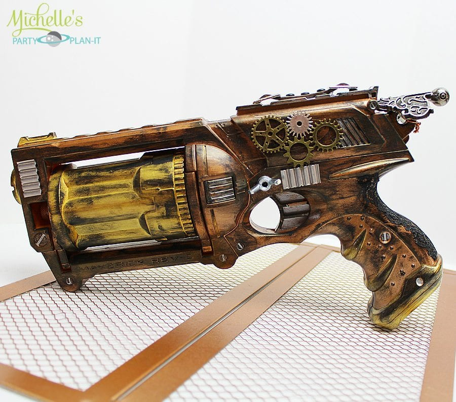 This ended up being one of my favorite DIY projects from my party, not to  mention I now have the coolest Nerf Gun in the house! Ha!