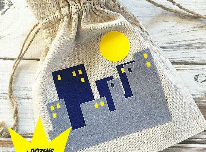 City scape super hero treat bags