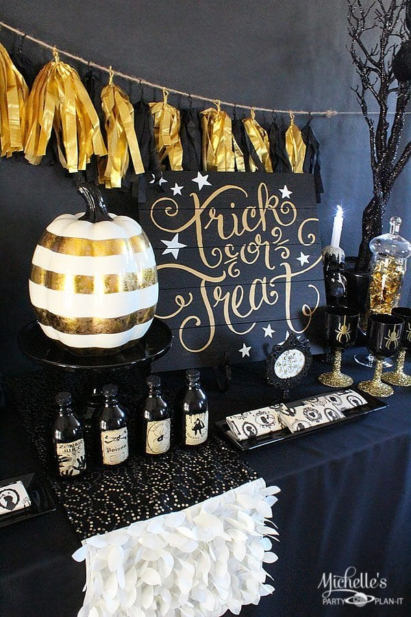 Black And Gold Halloween Party Ideas Michelles Party Plan It