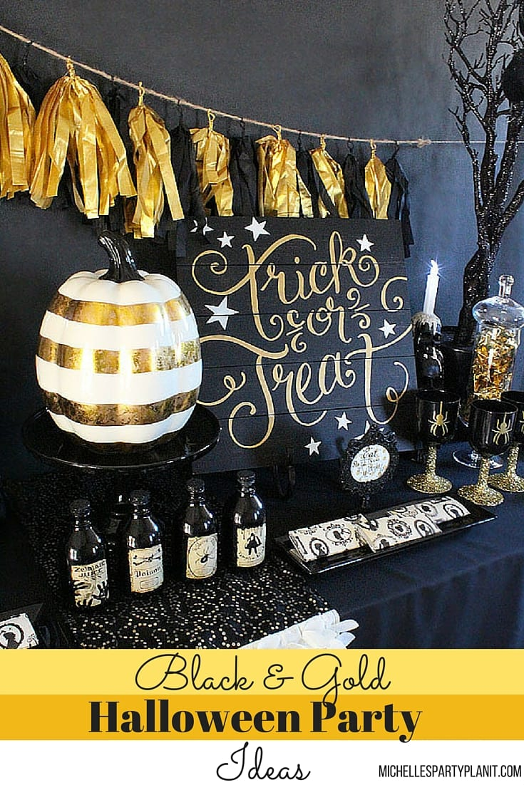 black and gold halloween party ideas michelle 39 s party. Black Bedroom Furniture Sets. Home Design Ideas