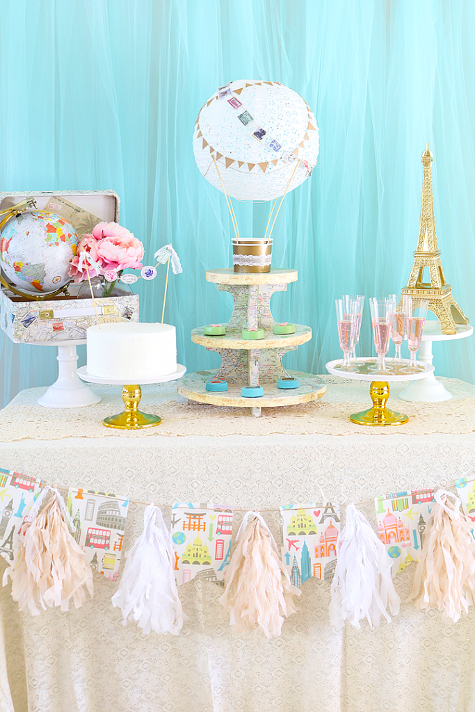 Traveling from Miss to Mrs. Bridal Shower Tablescape