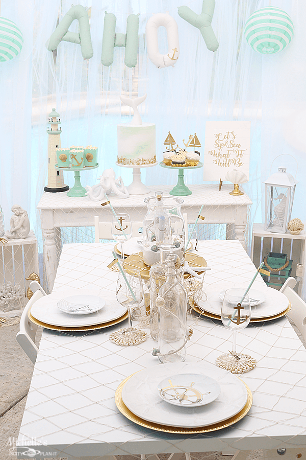 Sip & Sea Gender Reveal Party Tablescape