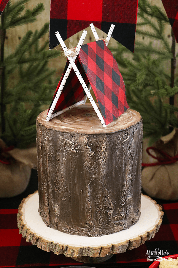 DIY Tent Cake Topper & DIY Tent Cake Topper | Lumberjack Party Ideas - Michelleu0027s Party ...