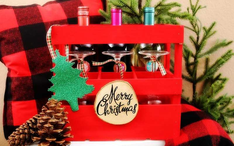 Holiday wine gift crate