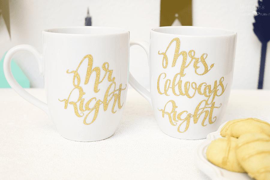 """Mr Right & Mrs Always Right"" Mug Set - Valentines Cricut Craft Project by Michelle Stewart"