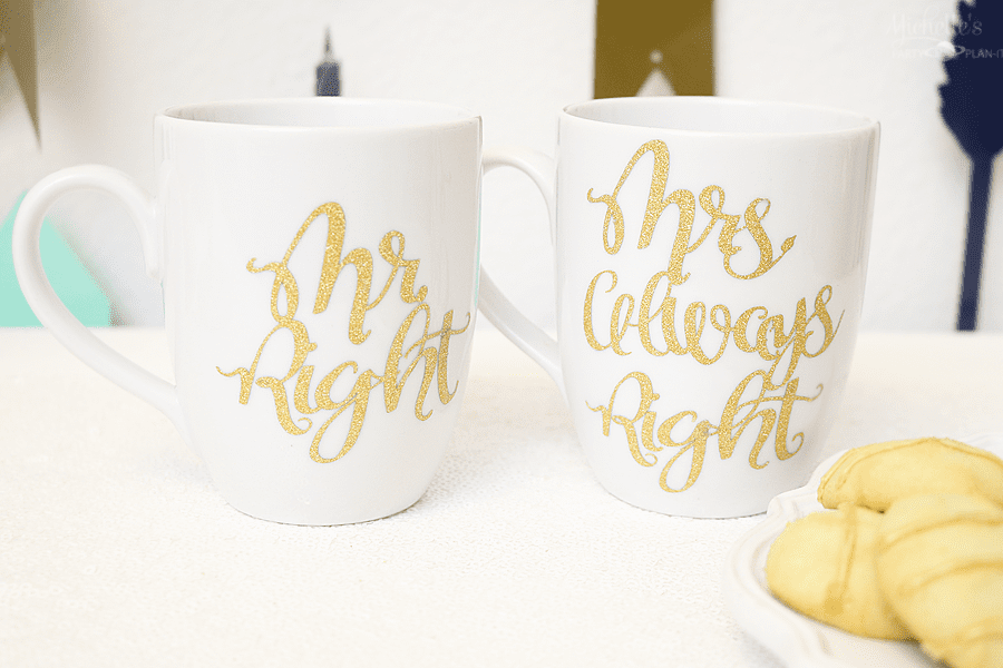 """Mr Right & Mrs Always Right"" Mug Set - Valentines Cricut Craft Project by Michelle Stewart"
