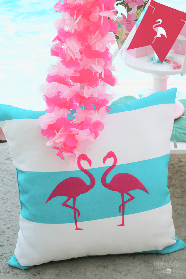 End of Summer Flamingo Party Pillow