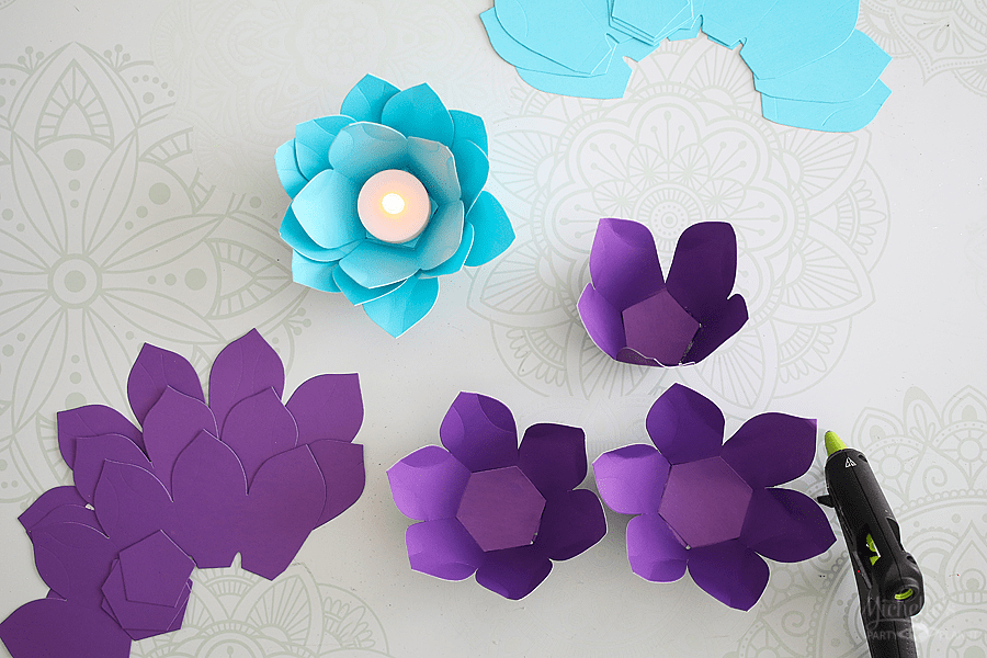 Easy table top decorations - paper flower tealights