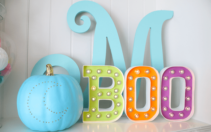 Easy no carve pumpkin teal pumpkin project