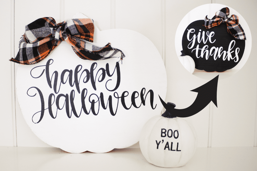 DIY 2 in 1 Fall Sign | How to Apply Heat Transfer Vinyl to Painted Wood