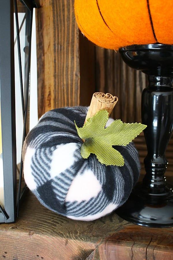 DIY Halloween Buffalo Check pumpkins