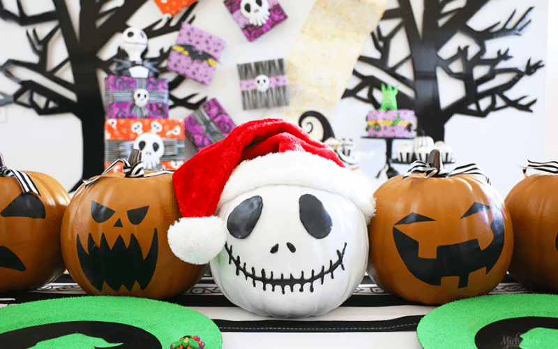 How to Make a Jack Skellington Pumpkin with Hot Glue