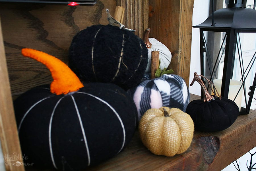 Fall thanksgiving mantle ideas - fabric pumpkins