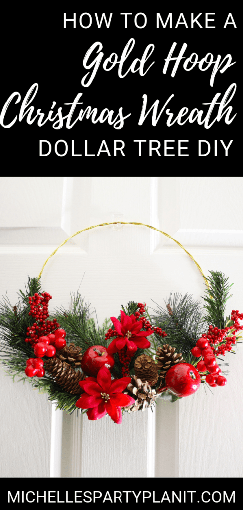 How to make a gold hoop christmas wreath
