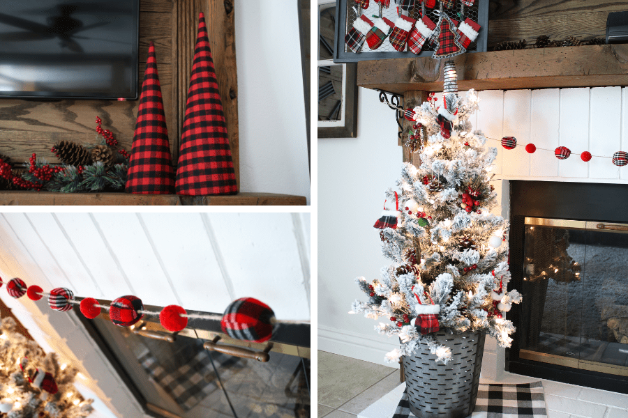 Rustic buffalo plaid christmas mantle 2