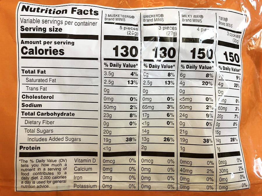 Chocolate variety nutritional info